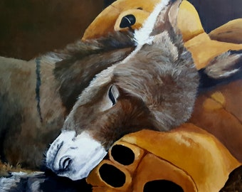 "Original Painting 'Baby Larry' the donkey and his stuffed bear 16""x 16"""