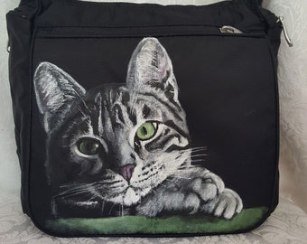 Custom Painted Crossbody Travel bag hand painted with YOUR Pet's portrait