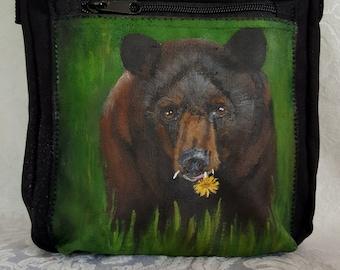 Cross Body Zippit Purse - hand painted portrait of Tony, the black bear