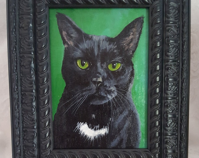 Featured listing image: Black Cat 'Rory' Original 5x7 Acrylic Painting