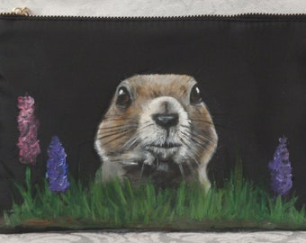 Cosmetic bag Carry All Pouch with 'Lisa' the Prairie Dog painted on front