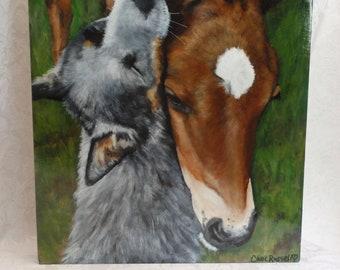 "Original Painting of of 'Duke & Daisy' an Australian Shepherd 'Blue Healer' and foal 12""x16"""