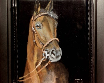 Hand Painted Framed Leather iPad/Tablet Case of 'Henry' the Quarter Horse