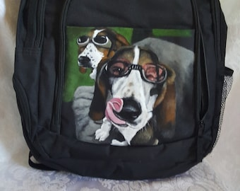 Custom Painted Backpack with a Portrait of YOUR Pet - Black Laptop Backpack