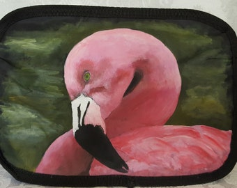 Carmen the Flamingo Hand Painted Cosmetic Bag
