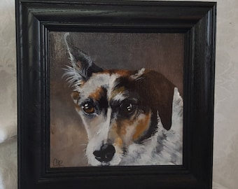 Original Acrylic Painting of 'Bailey' a Collie mix  Framed in a Black Wood frame