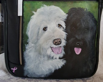Custom Painted ili Leather City Messenger Bag with YOUR PET's Portrait