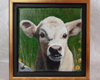 """Irish Collection Original Acrylic Painting of 'Daisy Noinin', an Irish calf.  Framed in a Black and Gold Floater frame  6""""x 6"""""""