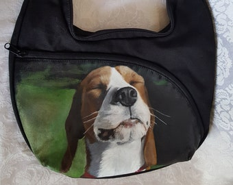 Crossbody Shoulder Bag with 'Sidney', the Beagle hand painted