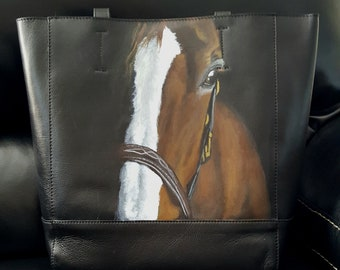 Leather Tote Bag with a hand painted portrait of 'Dermot'