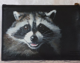Custom Painted Leather Wristlet with a hand painted portrait of YOUR pet