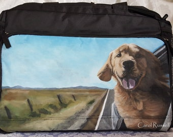 Custom Painted Week Away Bag for Medium & Large Dogs hand painted with YOUR Pet's portrait
