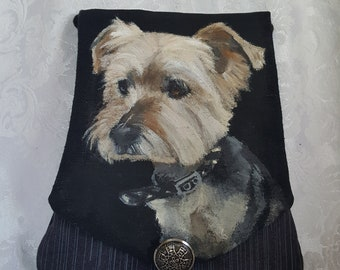 Custom Cotton Cross Body Purse Hand Painted with YOUR Pet's Portrait