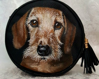 Circular Purse Hand Painted with Archie, a wired hair Dachshund