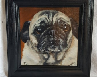 Original Acrylic Painting of 'Pete', the Pug.  Framed in a Black Wood frame 6'x 6""