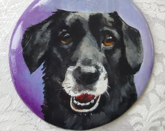 "Custom Painted 3 1/4"" Round Bisque Ornament with YOUR Pet's Portrait"