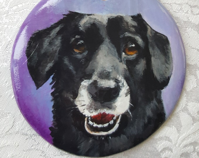 "Featured listing image: Custom Painted 3 1/4"" Round Bisque Ornament with YOUR Pet's Portrait"