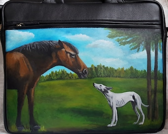Custom Painted Leather Briefcase with YOUR Pet's Portrait