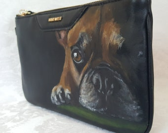 Custom Painted Nine West Faux Leather Clutch with YOUR Pet's Portrait