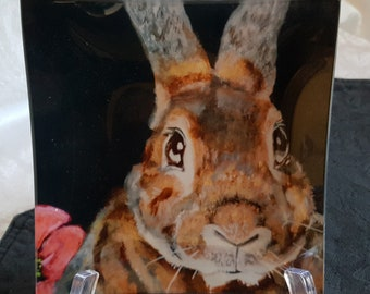 Glass Tray Printed with 'Marion', the Bunny
