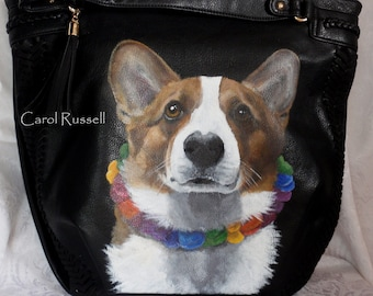 Custom Hand Painted Vegan Leather Hobo Bag of YOUR pet