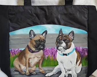 Custom painted Tote Bag with YOUR pet's portrait