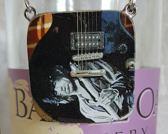 Wine Bottle Charm of Keith Richards (Square) and (4) Wine Glass Charms