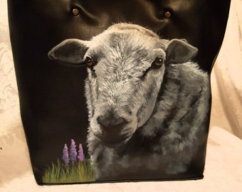 Madeline an Irish Sheep handpainted on a Vegan tote