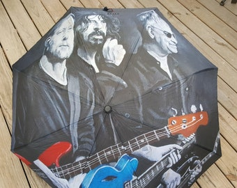 Automatic Folding Umbrella printed with my painting 'The Originals', Nate Mendel, Dave Grohl, Pat Smear, Foo Fighters
