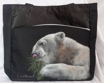 Tote Bag hand painted portrait of Chloe the Polar Bear