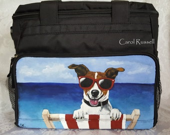 Week Away Bag for Small Dogs hand painted with Rodney the Jack Russell