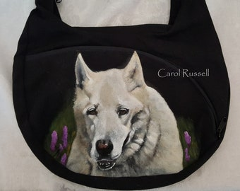 Custom Painted Crossbody Shoulder Bag with YOUR pet's portrait