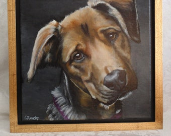 """Original Acrylic Painting of Emma Rose, framed in a Black and Gold Crinkle floater frame 12""""x 12"""""""