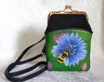 Faux Leather Crossbody Purse painted with a portrait of Bea the Bumble Bee