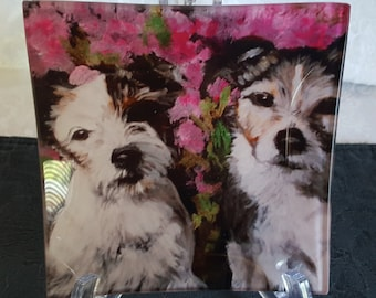 Glass Tray Printed with 'The Jacks', Jack Russell Terriers