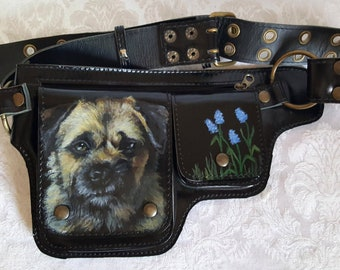 Hip Bag Utility Belt Leather Hand painted with a portrait of Teddi a Border Terrier