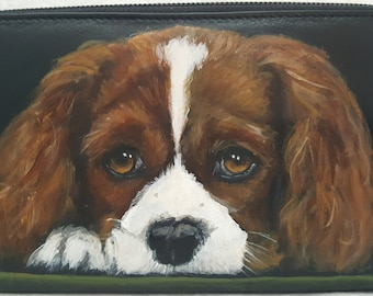 Hand Painted Large Zipper Wallet with a portrait of Ella a King Charles Spaniel