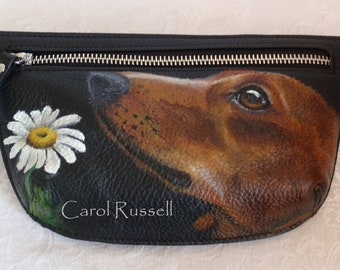 Custom Painted Vicenzo leather Waistbag Bag hand painted with YOUR PET'S Portrait