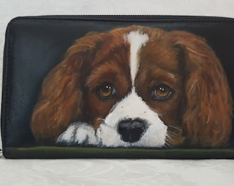 Custom Hand Painted Large Zipper Wallet with a Portrait of Your Pet