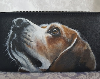 Faux Leather Wallet Hand Painted Portrait of Louie the Beagle