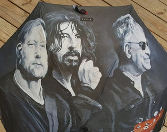 Dave Grohl Pat Smear Nate Mendel Automatic Folding Umbrella printed with my painting 'Silence, Patience & Grace', Foo Fighters