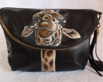 Custom Painted Italian Leather Crossbody Clutch Purse with YOUR pet's portrait
