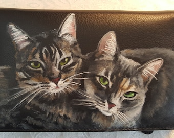 Custom Painted Leather Travel Wallet with YOUR pet's portrait