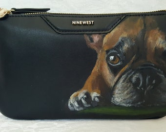 Hand Painted Pet Portrait Nine West Faux Leather Clutch with Oliver, a French Bulldog