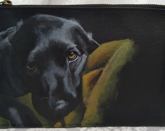 Custom Painted Leather Clutch/Pouch with a hand painted portrait of YOUR pet
