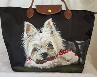Custom Painted Waterproof Foldable Tote with a portrait of YOUR pet