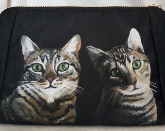 Custom painted Memphis Cosmetic bag or clutch with YOUR Pet's portrait