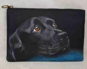 Hand Painted Leather Clutch/Pouch with a portrait of Connor a Black Lab/Labrador