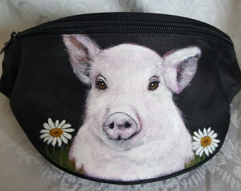 Hip Bag aka Bum Pack painted with Jessy, the sweet pig