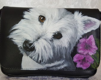 Leather Crossbody Clutch Purse 'Olive' a Highland West Terrier